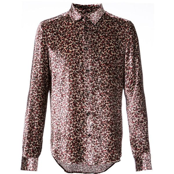 Garcons Infideles paisley print shirt ($745) ❤ liked on Polyvore featuring men's fashion, men's clothing, men's shirts, men's casual shirts, paisley print mens shirts, mens brown shirt, mens paisley shirt and mens pink shirts