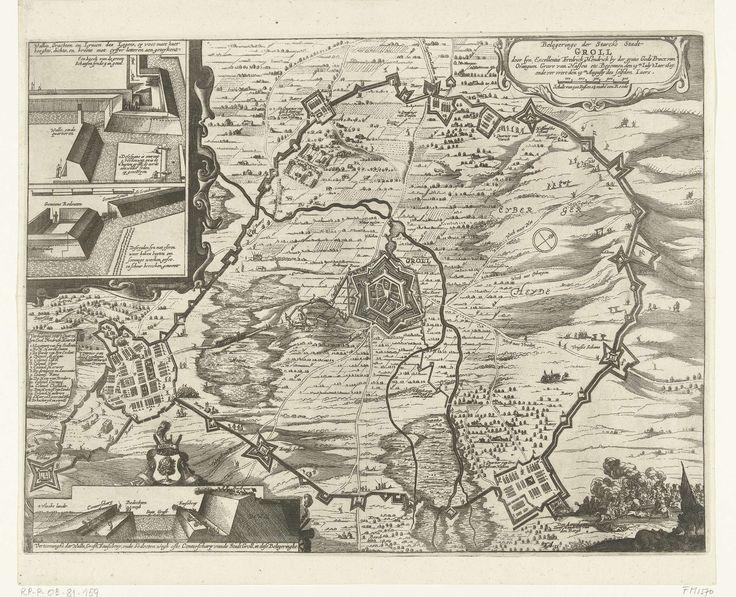 Cornelis Danckerts de Rij | Beleg van Grol door Frederik Hendrik, 1627, Cornelis Danckerts de Rij, 1649 - 1651 | Beleg en verovering van de stad Groenlo (Grol) door het Staatse leger onder Frederik Hendrik, 6 juli - 19 augustus 1627. Centraal de stad met het omliggende land en de kwartieren van de belegeraars. Linksboven een inzet met twee details van de wallen en redoutes aangelegd door het leger, linksonder een doorsnede van de wallen van de stad en de legenda 1-16 van het legerkamp van…