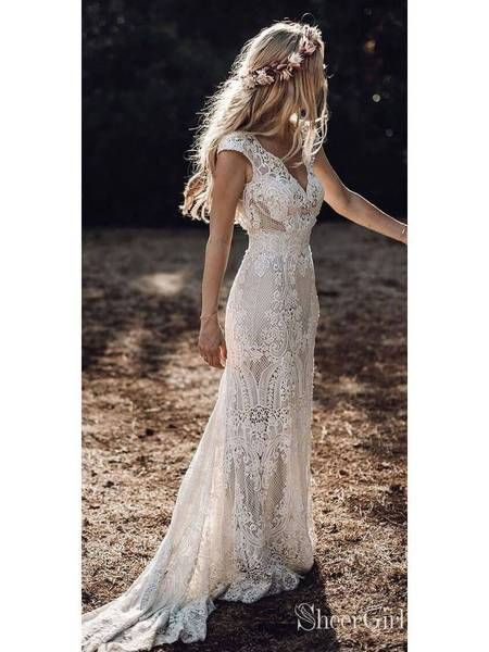 Classic Lace Rustic Wedding ceremony Clothes Cap Sleeve Sheath Boho Wedding ceremony Gown AWD1347…