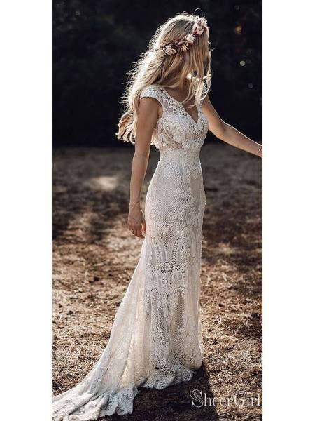 Vestidos de noiva rústicos de renda vintage Cap Sleeve Bainha Boho vestido de noiva AWD1347   – wedding-dresses