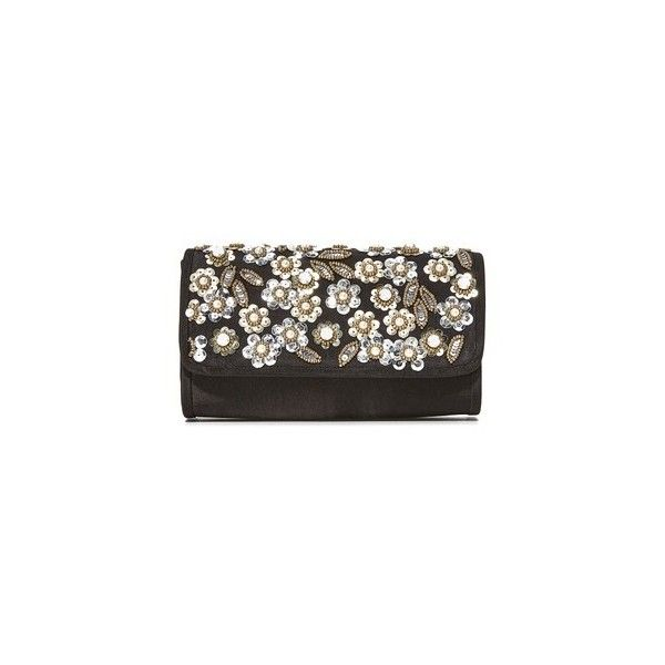 Santi Floral Pearl Clutch ($175) ❤ liked on Polyvore featuring bags, handbags, clutches, black, metallic purse, floral print handbags, floral purse, floral handbags and sequin handbags