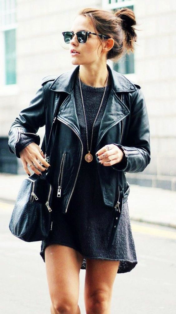 leather jacket+dress | The title makes me lol. Some of these definitely not hipster. Good stuff