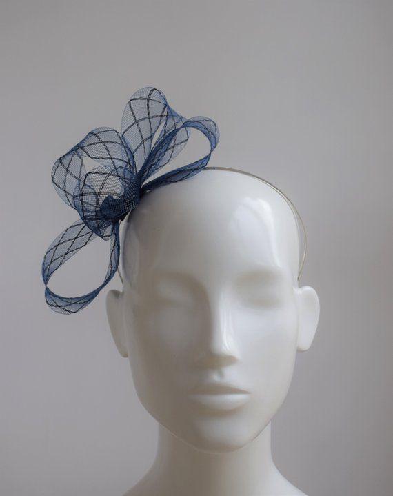 051b8ceb0c9d0 Navy Blue Fascinator - Navy Wedding Hat - Navy Head Accessory - Wedding  Headpiece - Simple Modern Navy Fascinator - Small Navy Fascinator