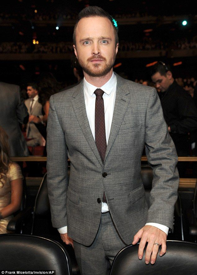 Not so bad: Breaking Bad star Aaron Paul was elegant in a grey suit with burgundy tie...