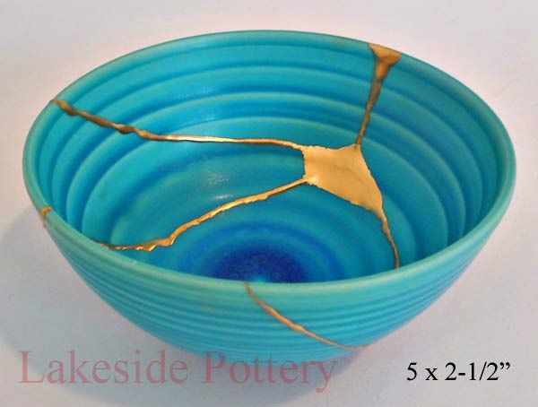 Lakeside Pottery * Japanese kintsugi or Kintsukuroi art repair --- See also: http://en.wikipedia.org/wiki/Kintsugi .