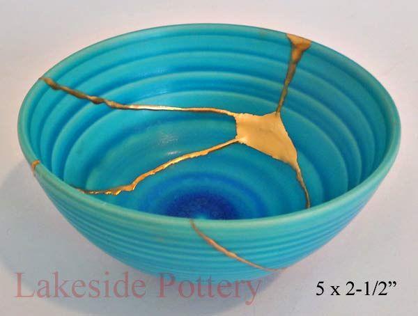 Lakeside Pottery * Japanese kintsugi or Kintsukuroi art repair --- See also: http://en.wikipedia.org/wiki/Kintsugi .