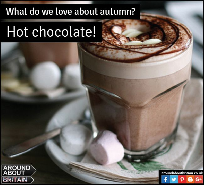 What do we love about Autumn? Those warm hot chocolates with marshmallows and cream! Treat yourself! #HotChocolate #Autumn #Britain #TreatYourself #HotDrink