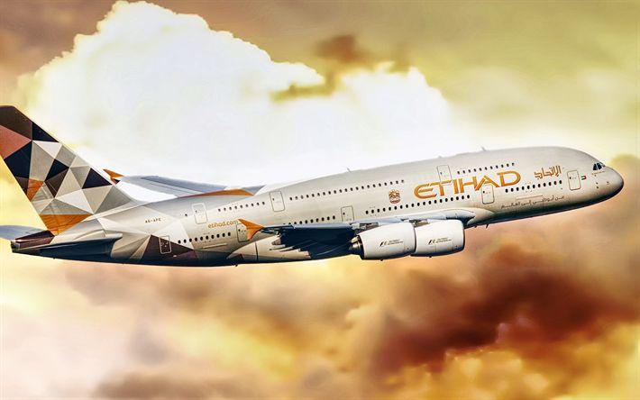 Download wallpapers Airbus A380-861, 4k, Etihad Airways, passenger plane, Airbus A380, civil aviation, Airbus