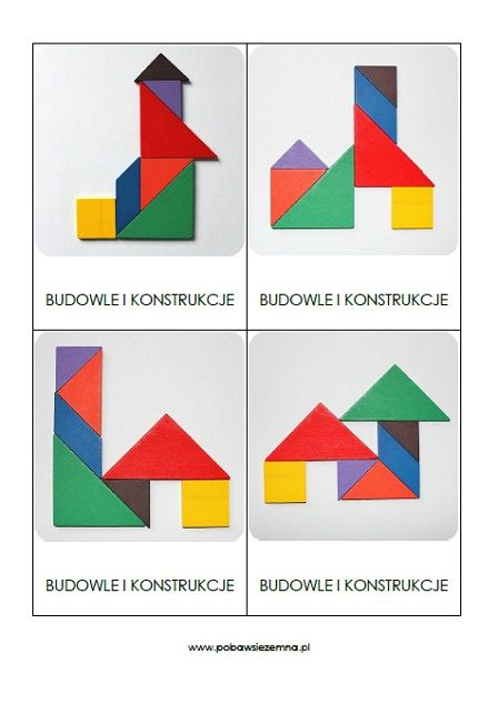 Budowle i konstrukcje - tangram karty