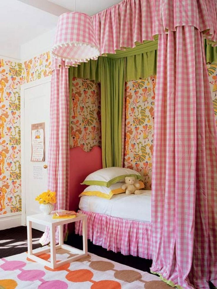 Kids Room  Checkered Pink White Kids Room Curtain Is Made Extra Long In  Canopy Bed. 17 Best ideas about Pink Bedroom Curtains on Pinterest   Girls