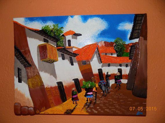 "Peruvian wall art picture frame ""the 3 gossipy neighbors"""