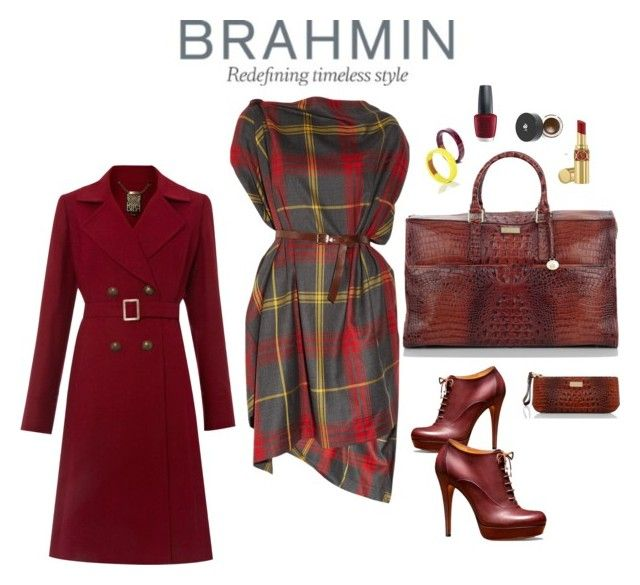 """The Brahmin Woman"" by riquee ❤ liked on Polyvore featuring Brahmin, Vivienne Westwood Anglomania, Gucci, Biba, OPI, Lancôme, Yves Saint Laurent, brahmin handbags, red and ma"
