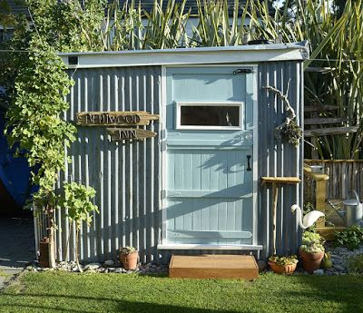 A wee garden shed/cafe in the backyard made mainly from recycled materials