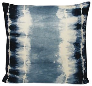 Shibori linen pillow by Kevin O'brien. Inspired by an ancient japanese dyeing technique, in which the fabric is folded and tied to create a resist-dye pattern. Hand dyed in Nepal on cotton linen.