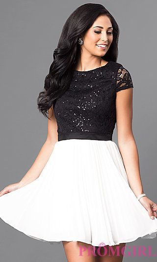 Black and White Short Sleeve Homecoming Dress at PromGirl.com