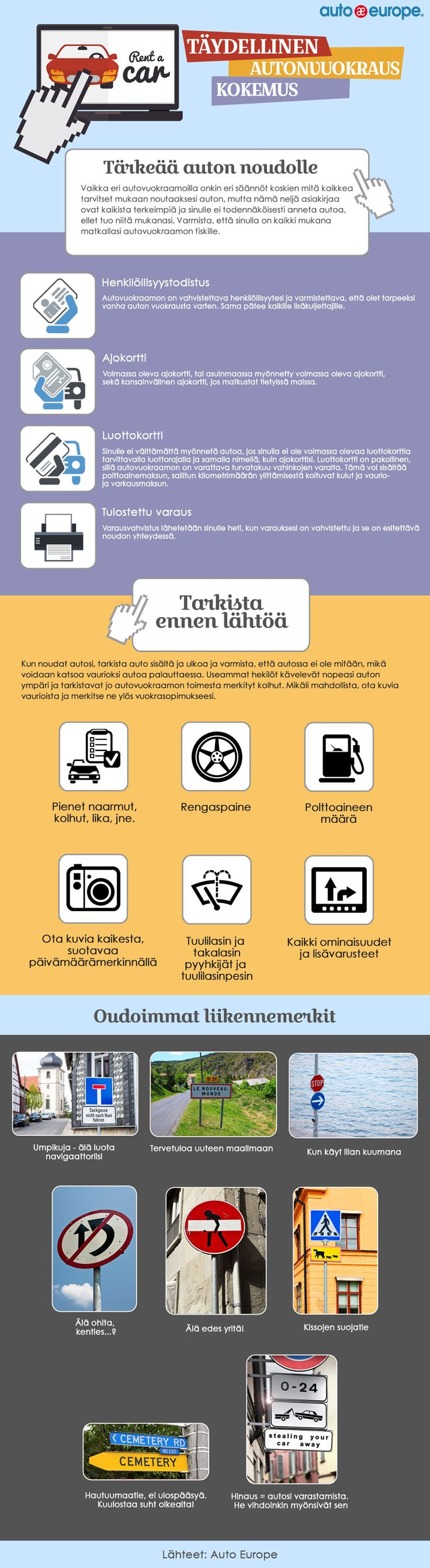 Infografiikka: Täydellinen autonvuokraus kokemus - Muut infografiikkamme löydät täältä: www.autoeurope.fi
