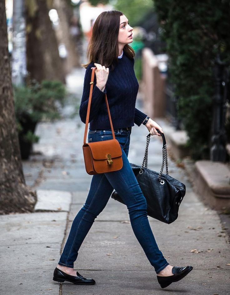 Anne Hathaway wearing STRÖM Brand denim in The Intern. #celebrity #fashion