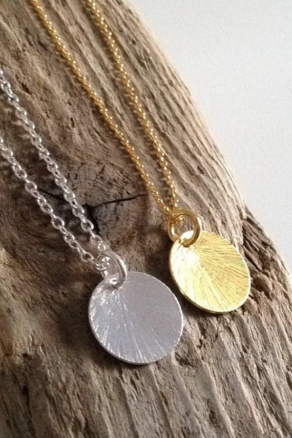 Textured Silver Disc Necklace/ Silver Chain Necklace/ by AVBohoJewellery