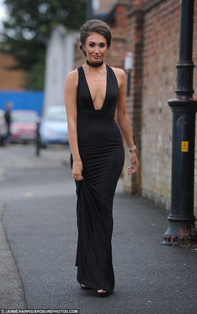 Megan McKenna.. House of CB 'Miacova' jersey plunge maxi dress..... - Celebrity Fashion Trends