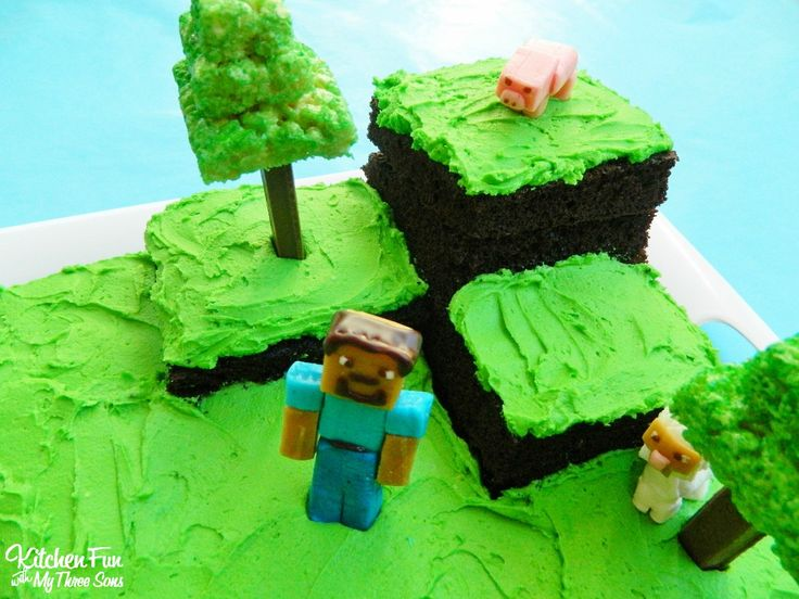 Easy Minecraft Cake from KitchenFunWithMy3Sons.com