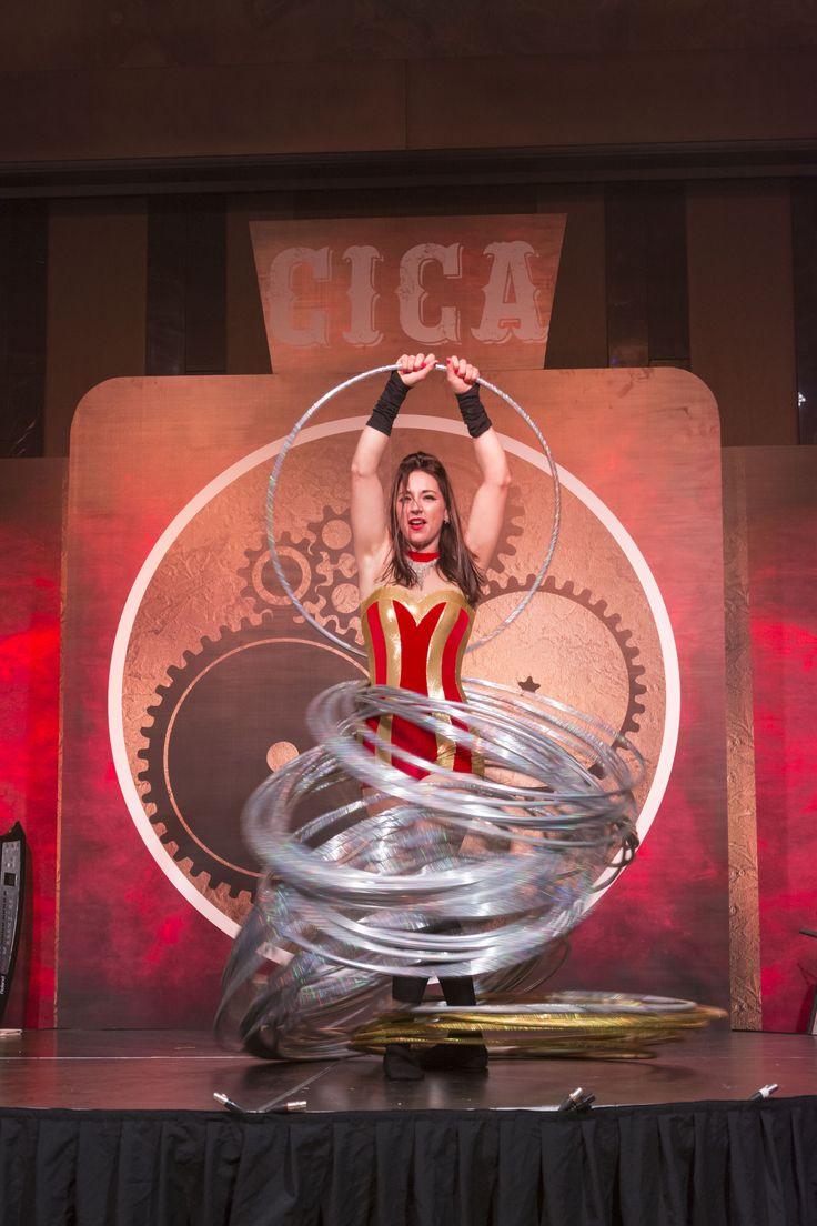 Steampunk Circus Gala Dinner Hoola Hoop entertainment.