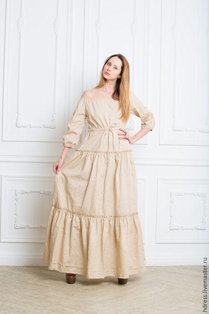 Купить или заказать Супер Цена! платье 'Нежность' из бежевого шитья в интернет-магазине на Ярмарке Мастеров. Красивое платье из бежевого шитья с вышитыми цветами. Очень женственное, удобное и универсльное платье-трансформер. Имеет множество вариантов носки: свободный силуэт или подчернуть фигуру, открыть-закрыть плечи. Цвет платья очень универсален- подо все подойдет и для любого случая. Натуральный хлопок очень приятен к телу. В нем нежарко с самый жаркий день и не холодно прохладным...