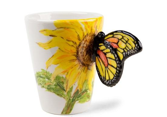 Great gardener gift...Butterfly Sunflower   Botanical   Coffee Mugs   Blue Witch Ceramics