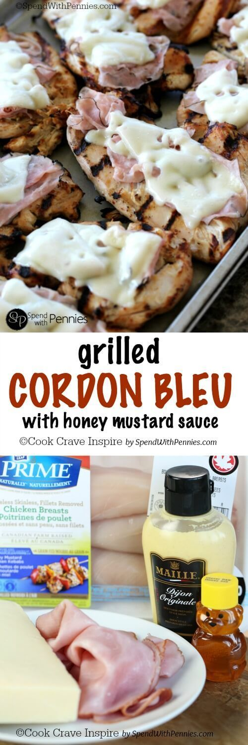 Grilled Chicken Cordon Bleu! The delicious flavors of cordon blue lightened up in this yummy grilled version! Ham & swiss over a juicy marinated chicken breast with a light and delicious sauce!