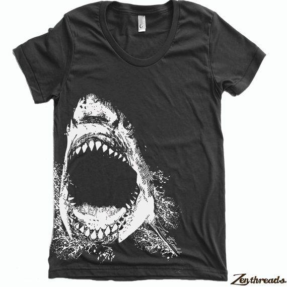 Womens SHARK tee T Shirt american apparel S M L XL by ZenThreads, $18.00