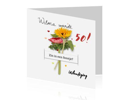 Feest bloemen en hartjes 50ste verjaardag