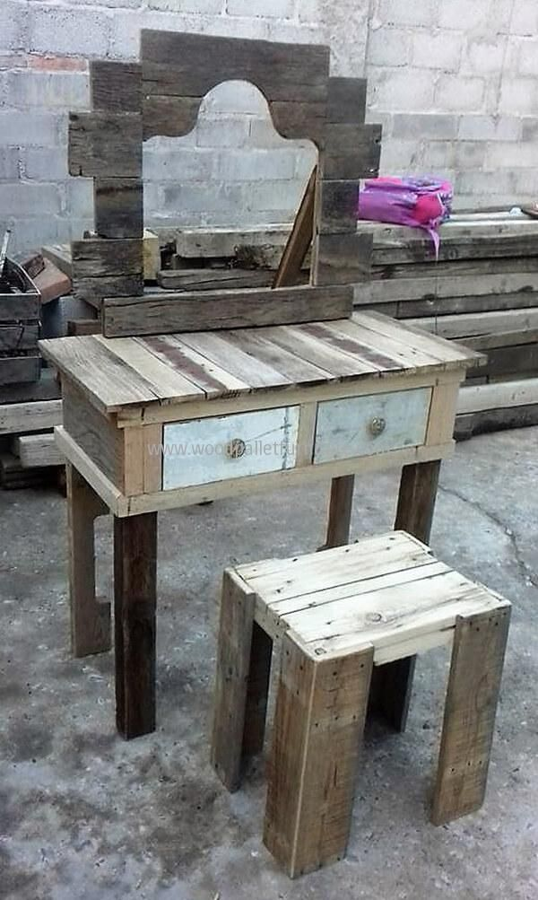 how to make a dressing table from pallets