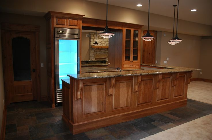 Lowe S Cabinet Ideas Bar Basement: Hickory Cabinets And Slate Floor