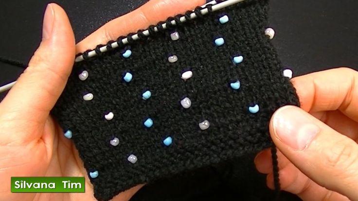 Cómo agregar perlas (abalorios, cuentas, mostacillas) Tejido con dos agu...
