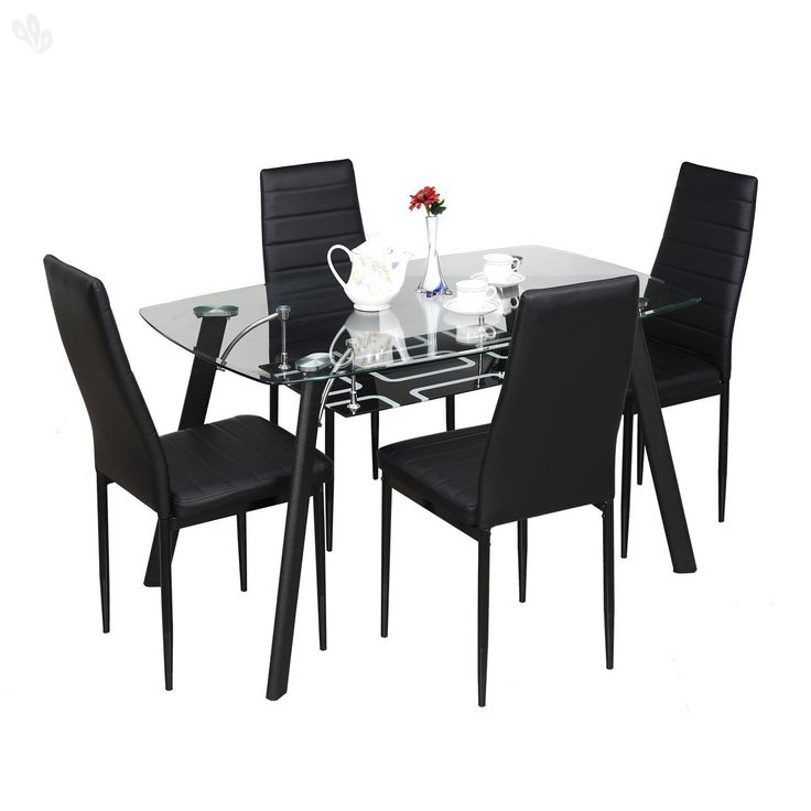 Royal Oak Milan Four Seater Dining Table Set (Black)   Best Home And Kitchen