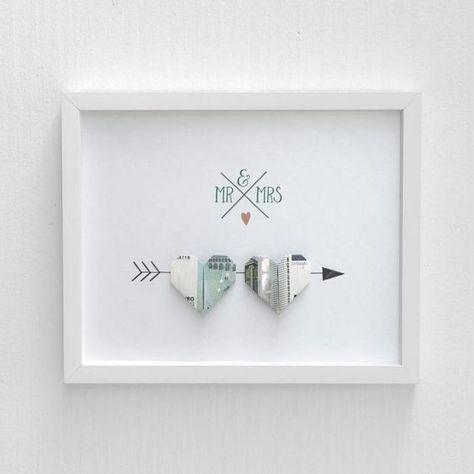 Geldgeschenke Hochzeit - Bild mit zum Herz gefalteten Geldscheinen