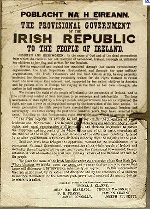 The proclamation of Irish Independence by Irish Republicans during the Easter Rising of 1916. The uprising was brutally crushed and several leaders were executed by British forces; however, the defeat served as a rallying cry for Irish independence, resulting in a protracted insurgency and eventual Irish independence in 1922.