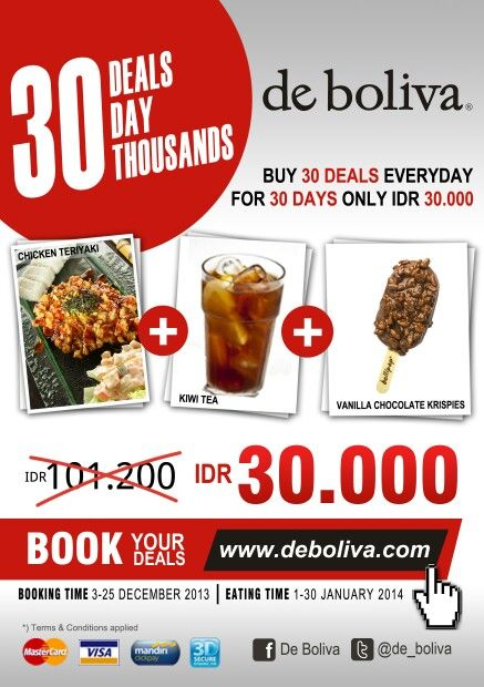 "Book your ""Chicken Teriyaki+kiwi Tea+Vanilla Chocolate Krispies"" for just Rp 30.000,- at www.deboliva.com Booking Date: 3-25 Des 2013 #deboliva #bolivapromo #instaboliva #cafe #lowfat #icecream #surabaya #solocity #theparkmall #sutos #gubeng #marina #cito #waterplace #citraniaga"
