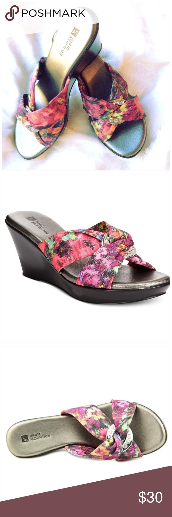 "WHITE MOUNTAIN SHOES Fuschia multi floral print. Has a slight metallic sheen. 2.75"" heel. Very comfortable. New in box White Mountain  Shoes Wedges"