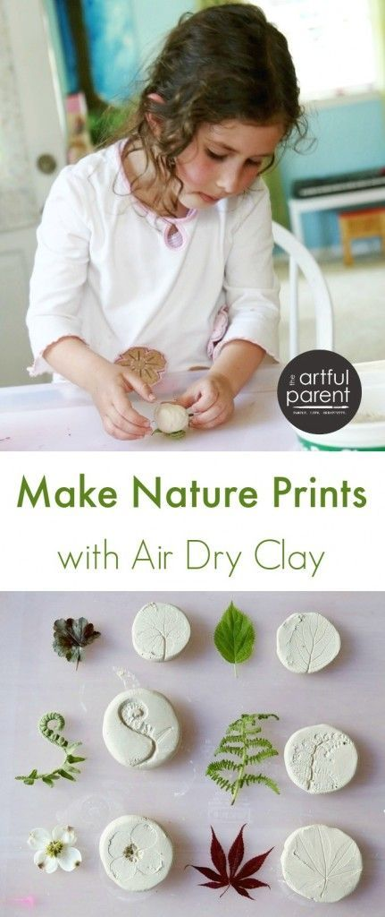 Making Nature Prints with Air Dry Clay - great Earth Day activity!