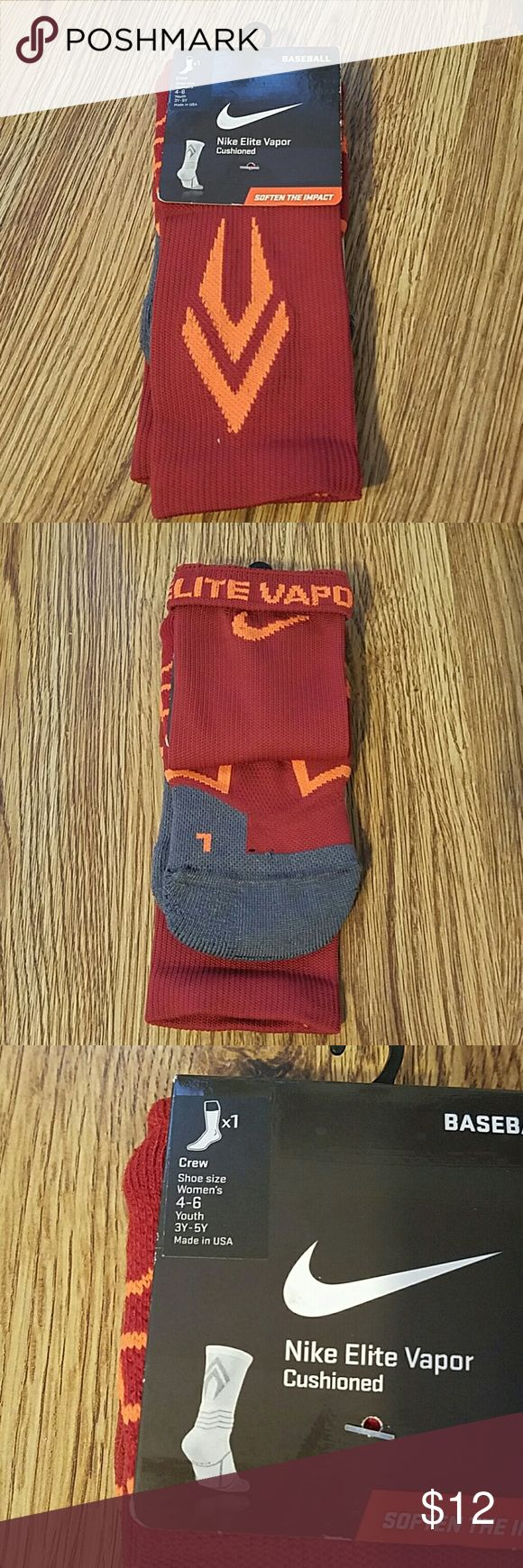 Nike Vapor Elite socks Burnt red and orange elite vapor socks. 'Elite Vapor' is written on the inside and can be seen when you roll down the cuff. Nike Accessories Hosiery & Socks