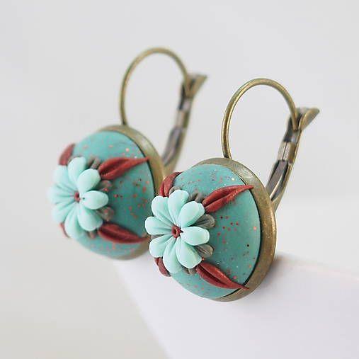 wandalkabeads / Polymérové náušnice, mentolový kvet