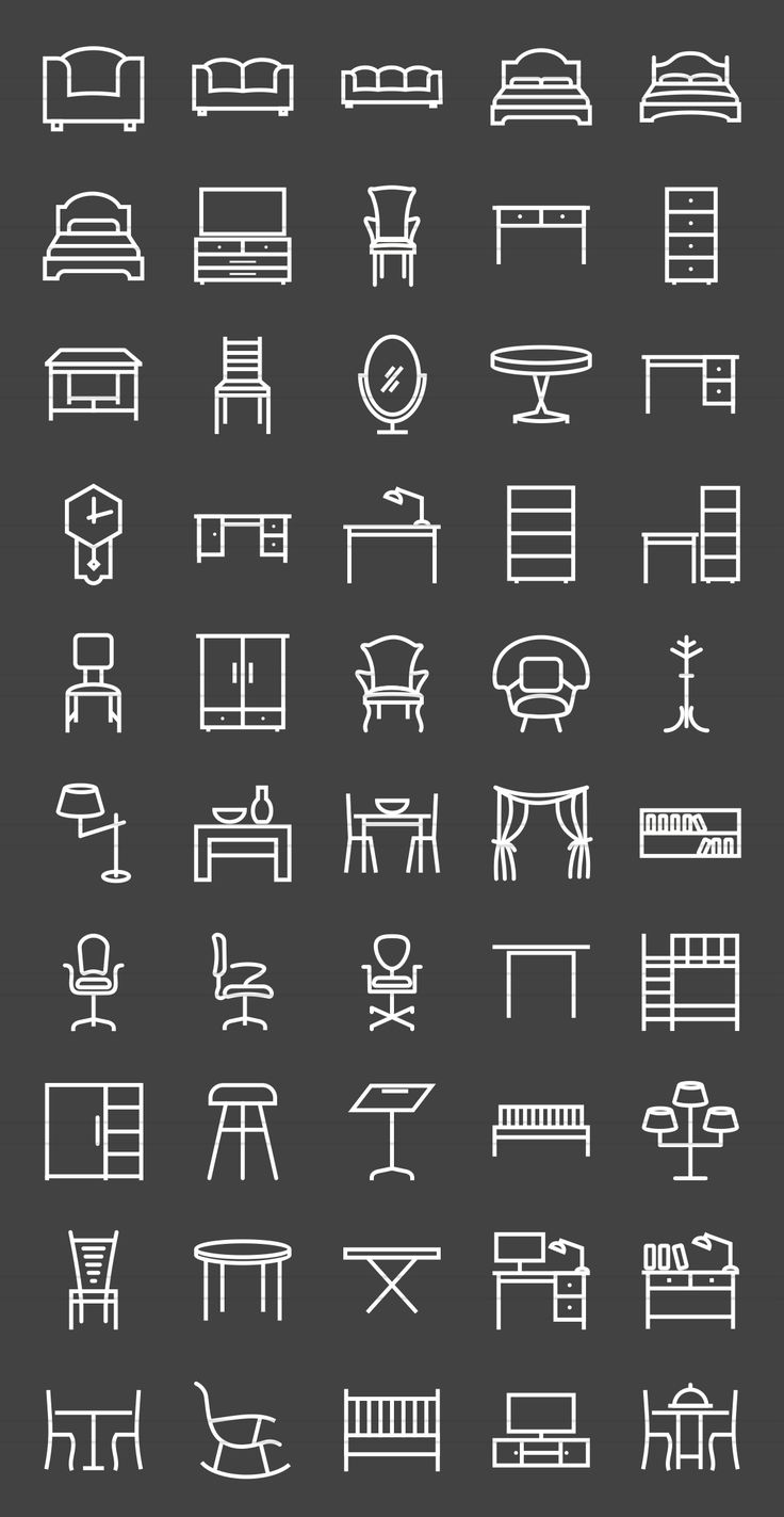 50 Furniture Line Inverted Icons by IconBunny on Creative Market