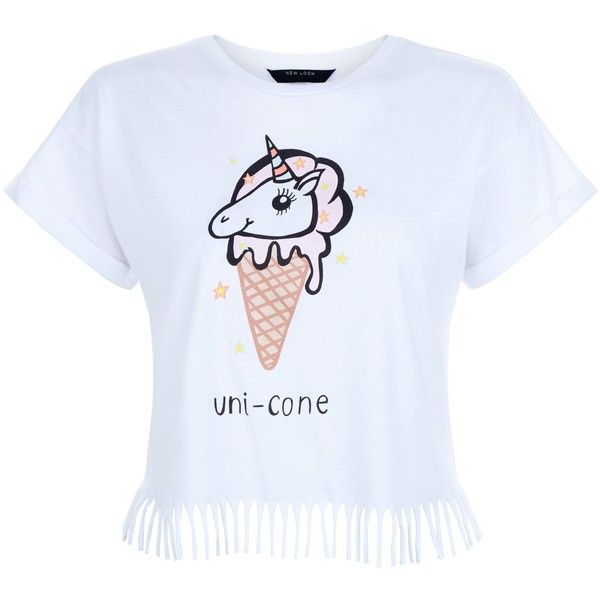 New Look Teens White Unicorn Print Fringed T-Shirt (159.095 IDR) ❤ liked on Polyvore featuring tops, t-shirts, white, fringe t shirt, white fringe top, white top, white tee and fringe tee