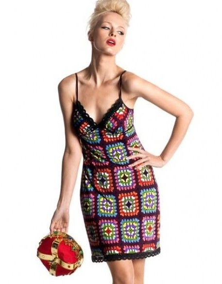 granny square dress - use smaller squares and triangles on bust.