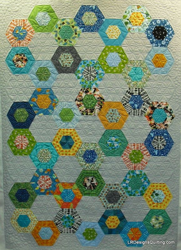 Linzee's Hexagon quilt - fun layout of hexies and the quilting is fantastic.