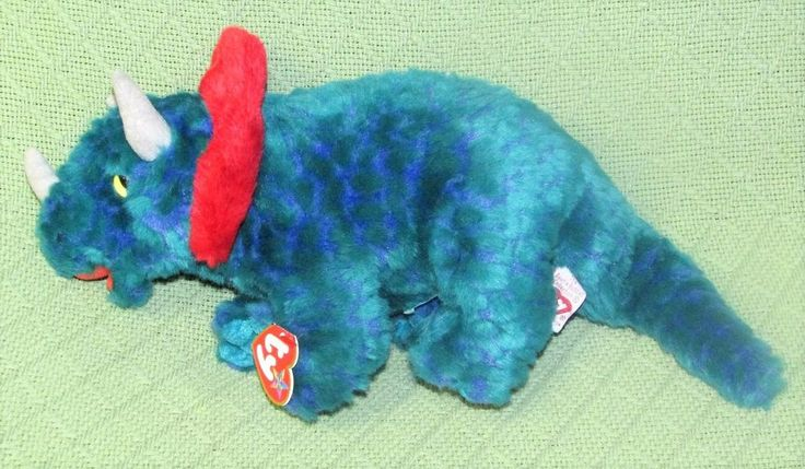 Ty HORNSLY Beanie Buddy TRICERATOPS Green Dinosaur Plush Stuffed Animal Ear Tag #Ty