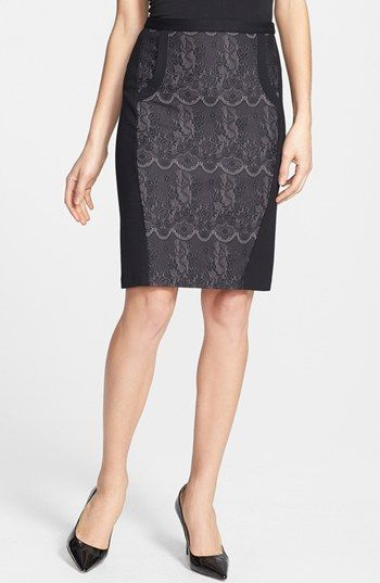 Halogen® Lace & Ponte Knit Pencil Skirt (Regular & Petite) available at #Nordstrom