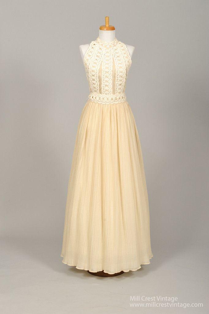 New In! 1970 Cotton Crochet Halter Vintage Wedding Gown