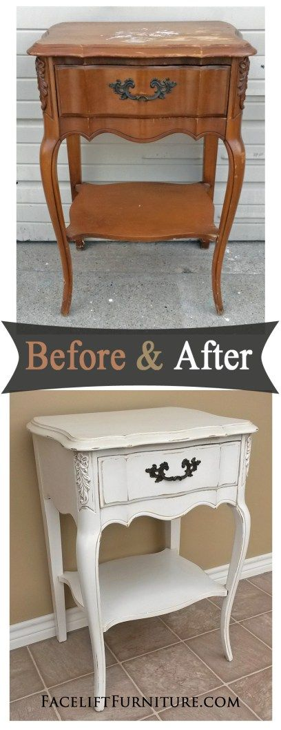 Antiqued White French Nightstand   Before U0026 After. Painting  FurnitureFurniture ProjectsBedroom ...