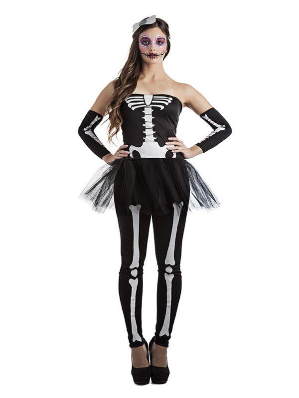 El disfraz de esqueleto tutu mujer, incluye Top con tutú, pantalones, mangas y tocado. en DisfracesMimo.com